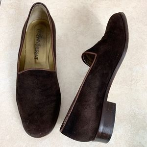 Yves Saint Laurent Loafer Shoes 6.5 Brown Suede